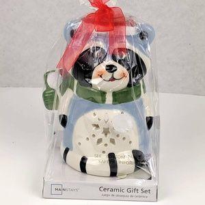 Mainstay Ceramic Holiday RACOON Tealight Set